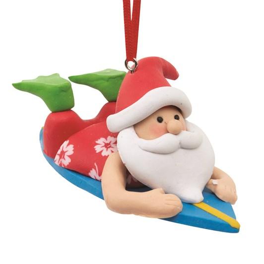 Santa Riding Surf Board Decoration