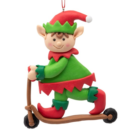 Elf Riding A Scooter Decoration