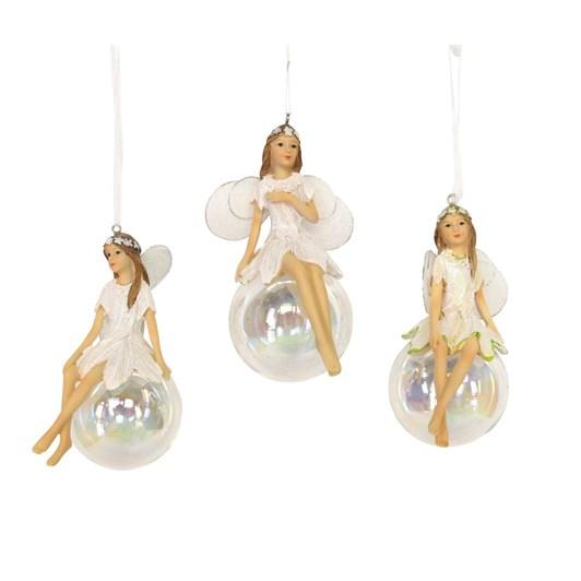 Gisela Graham Iridescent Resin Fairy On Ball Large