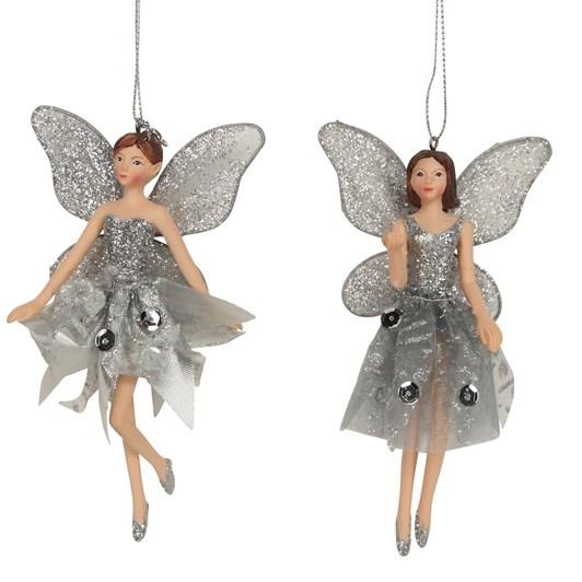 Gisela Graham Silver Resin/Fabric Fairy Decoration