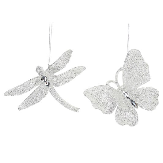 Gisela Graham Clear/Silver Acrylic Dragonfly/Butterfly Decoration