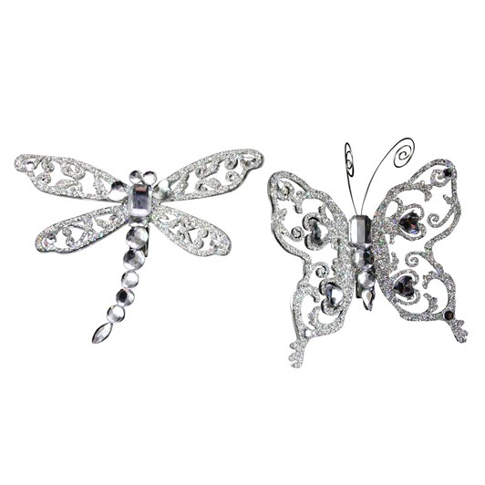 Gisela Graham Silver/Diamante Insect On Clip, Large - 10Cm