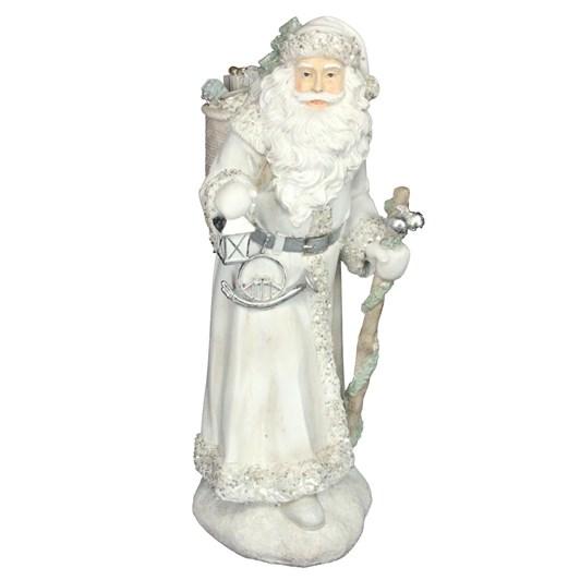 Gisela Graham White/Silver Resin Santa Ornament