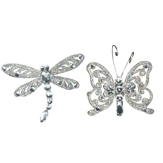 Gisela Graham Silver Diamante Insect On Clip, Small
