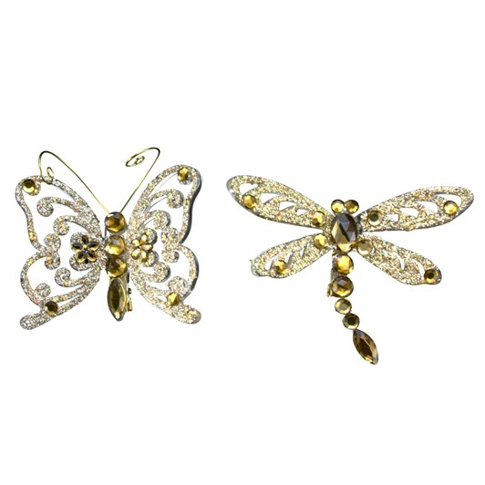 Gisela Graham Gold Glitter/Jewel Clip On Insect - 6Cm