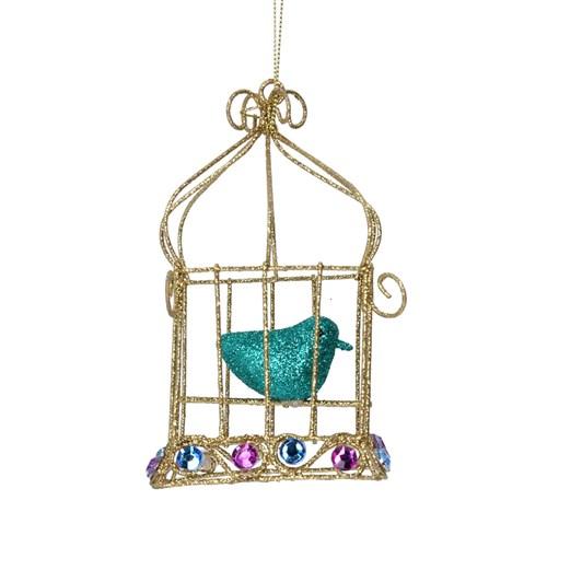 Gisela Graham Gold/Purple Bird Cage W Bird/Jewels Decoration