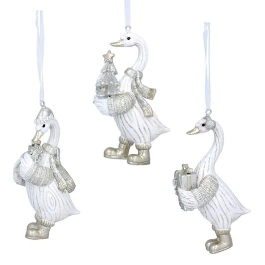 Gisela Graham White/Silver Resin Goose Decoration