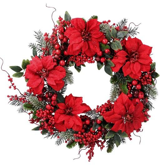 Gisela Graham Fir Wreath W Red Poinsetta/Berries