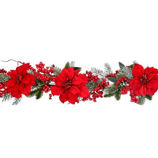 Gisela Graham Green Fir Garland W Red Fabric Poinsettas
