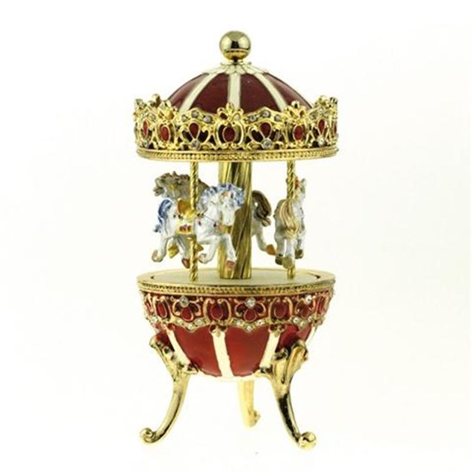 MusicBoxWorld Metal Carousel in Red
