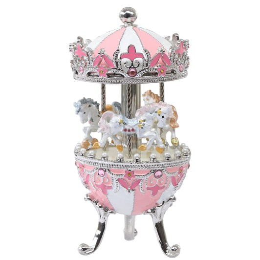 MusicBoxWorld Metal Carousel in Pink