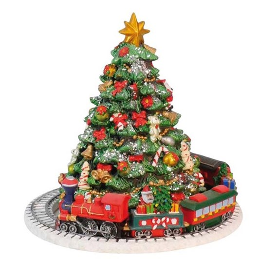 MusicBoxWorld Christmas Tree with Train Scene