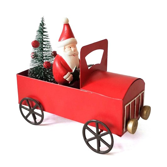 Santa Car Standing Decoration Red 12cm