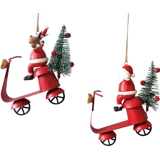 Santa and Reindeer Vespa Hanging Decoration