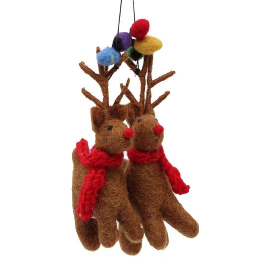 Amica Felt Reindeer Pair with Fairy Lights