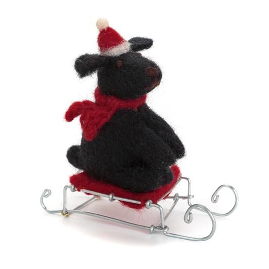 Amica Felt Mini Sitting Dog on Sledge