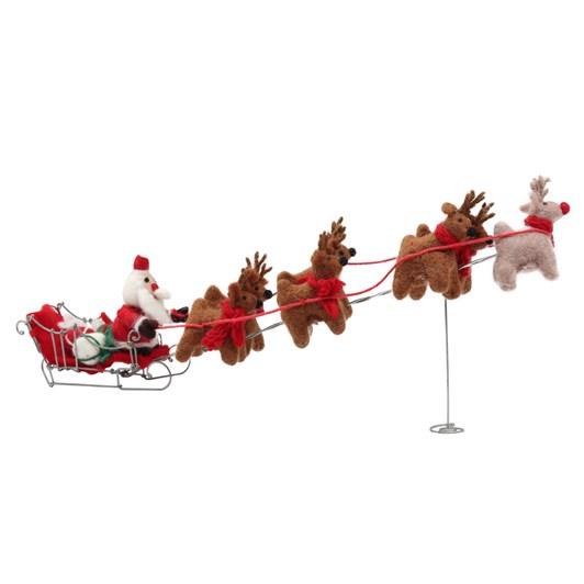 Amica Felt Santa & his 7 Reindeer with Sleigh