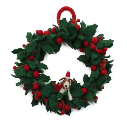 Amica Felt Small Holly Wreath with Fox Terrier