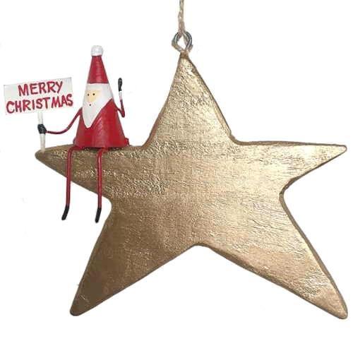 G Bork Wooden Star with Santa