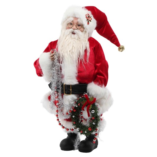 """26"""" Santa With Wreath And Garland"""