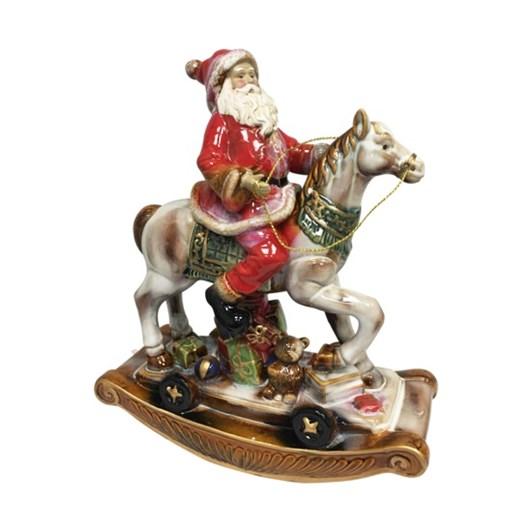 Rustic Ceramic Santa Riding Rocking Horse