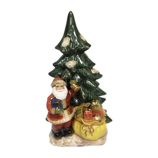 Rustic Ceramic Santa And Sack By Tree