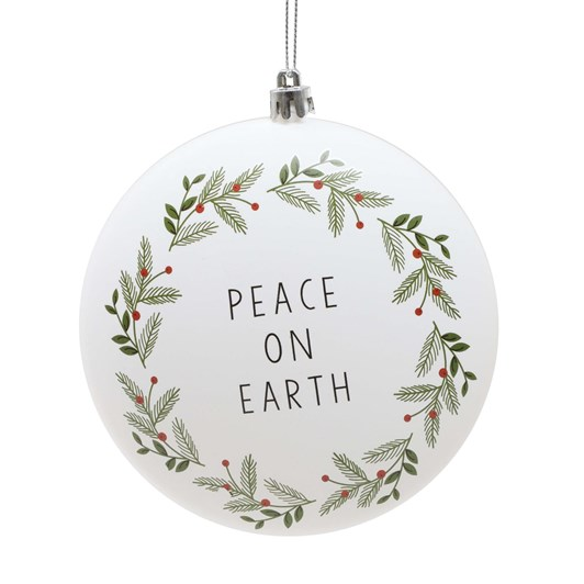 Plastic Obate With 'Peace On Earth' & Leave Design