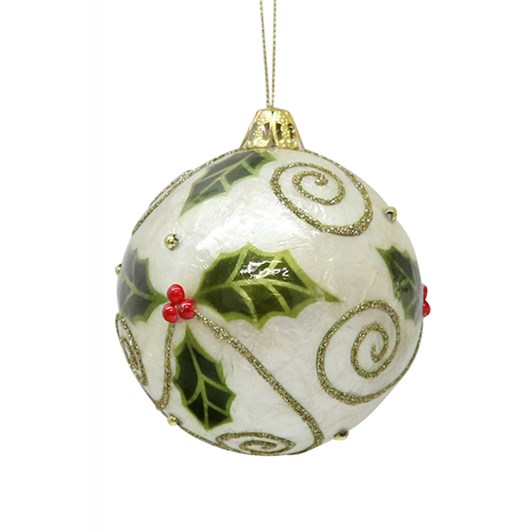 Perla Green And Gold Holly Bauble