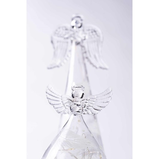Stellar Haus Small Round Glass Angel With Feathers 10cm