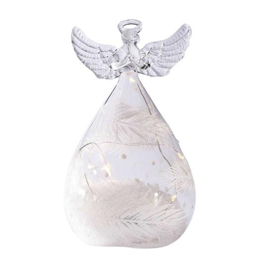 Stellar Haus Medium Round Glass Angel With Feathers 13cm