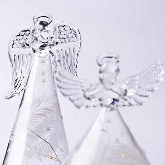 Stellar Haus Medium Cone Glass Angel With White Feathers 15cm