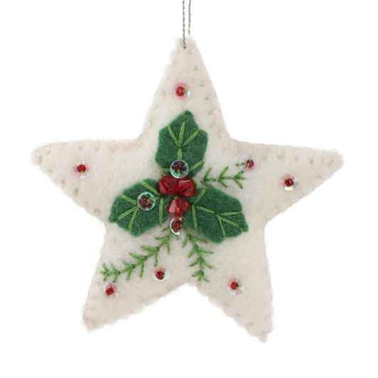 Trade Aid Embroidered Felt Star White/Green