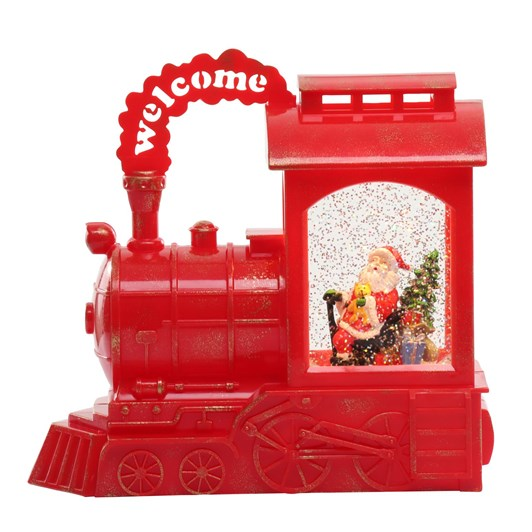 Train Lantern Santa Red
