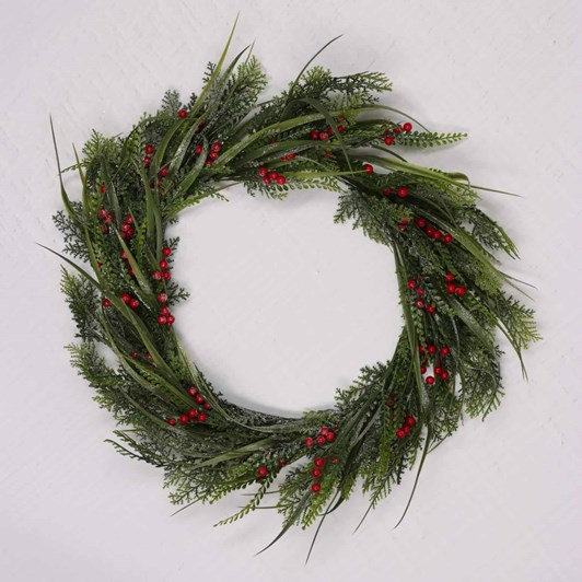 Wreath With Mixed Leaf And Berry 20 Inch