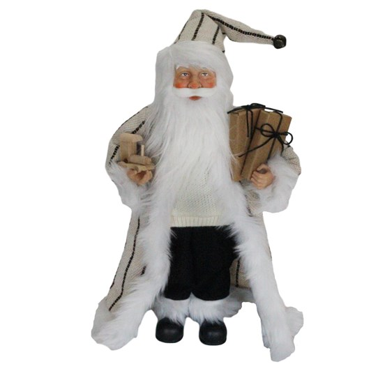 Santa With Gift Box Beige/Black Coat 18 Inch