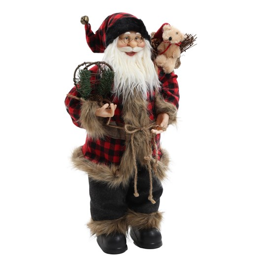 Santa Standing With Plaid Coat 24 Inch