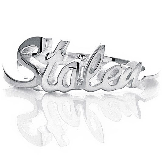 Stolen Girlfriends Club Essential Metal Stolen Script Ring