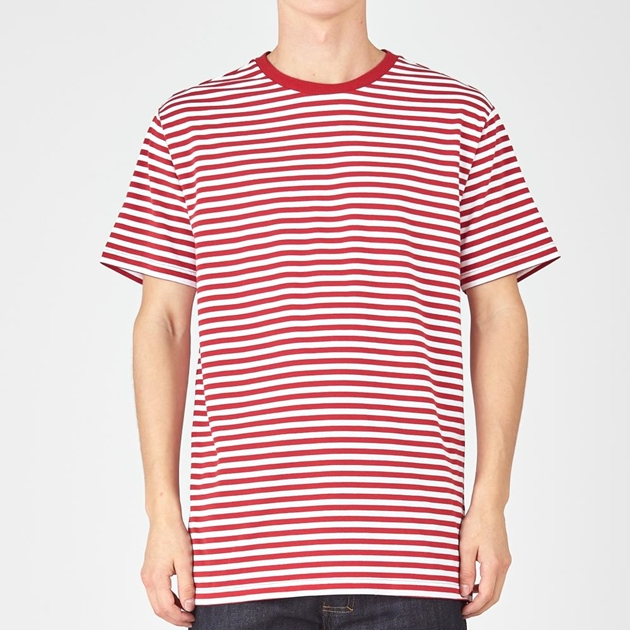 Huffer Spezial Stripe Tee - red white