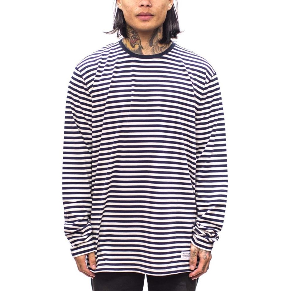 Huffer L/S Stripe Tee - navy & cream