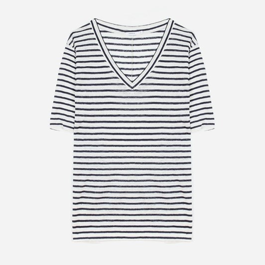 Commoners Wmns Luxe Linen V Neck Tee