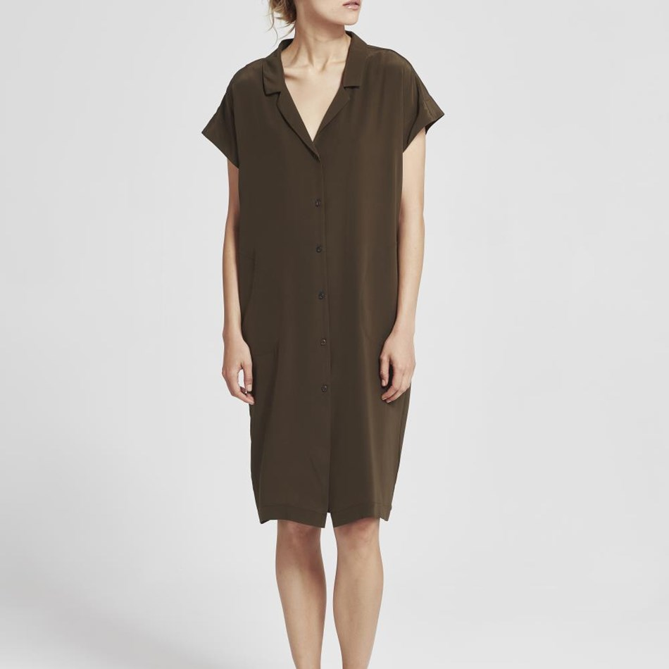 Juliette Hogan Shade Shirt Dress - khaki
