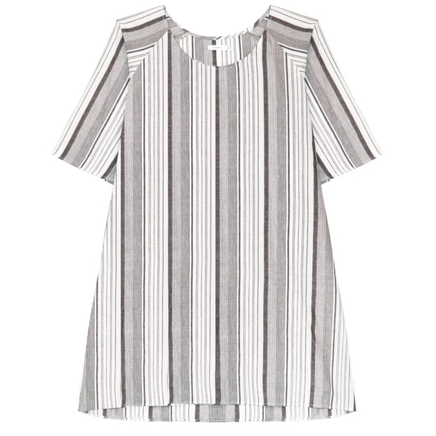 Commoners Womens Raglan Sleeve Dress - grey stripe