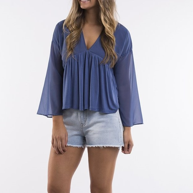 All About Eve Brooke Top - steel blue