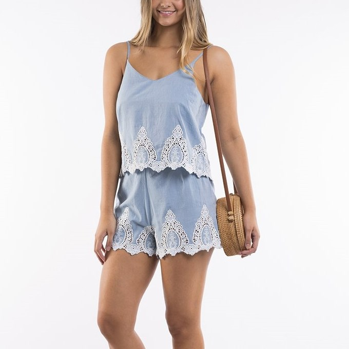 All About Eve Pia Shorts - chambray