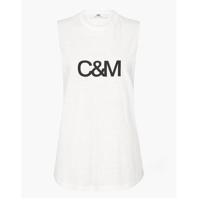 C & M Classic Logo Tank - white black logo