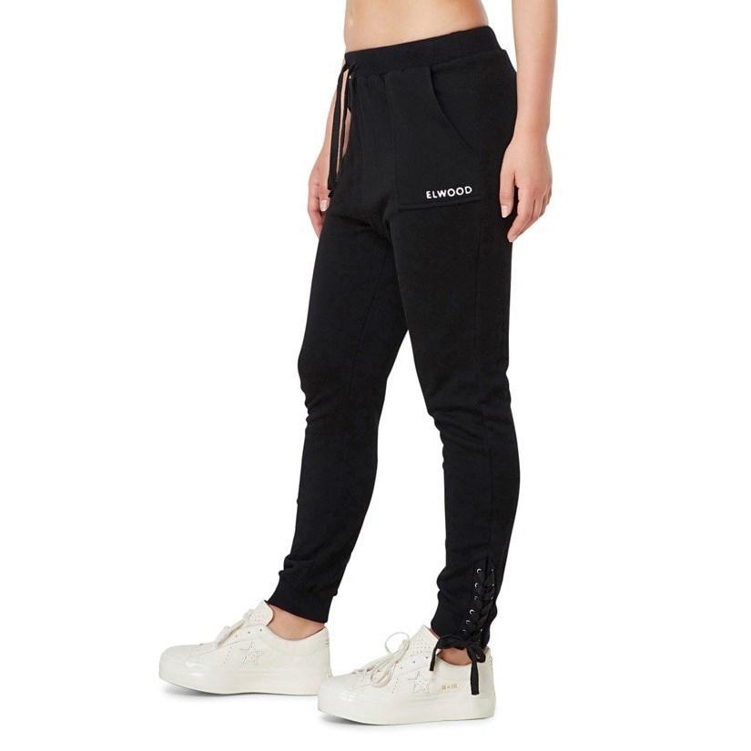 Elwood Lockie Lace-Up Track Pant - black