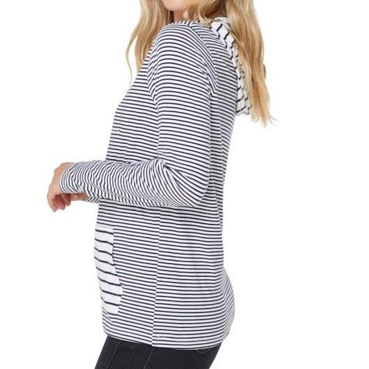 Elwood Grace Long Sleeve Hoodie Tee - navy stripe