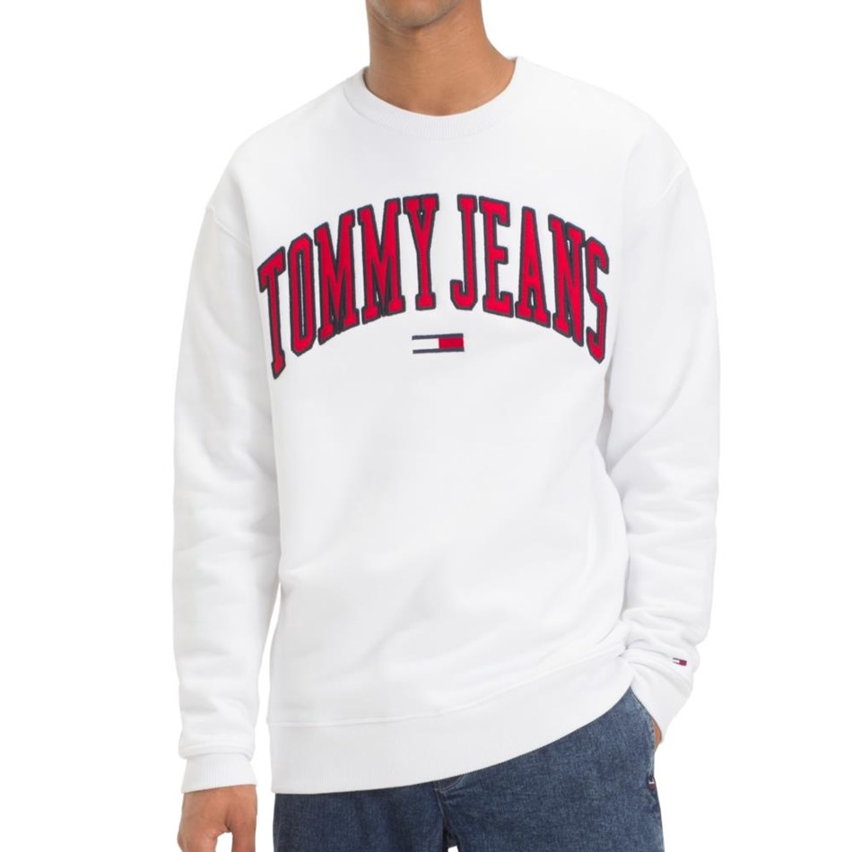 Tommy Jeans Clean Collegiate Crew - classic white