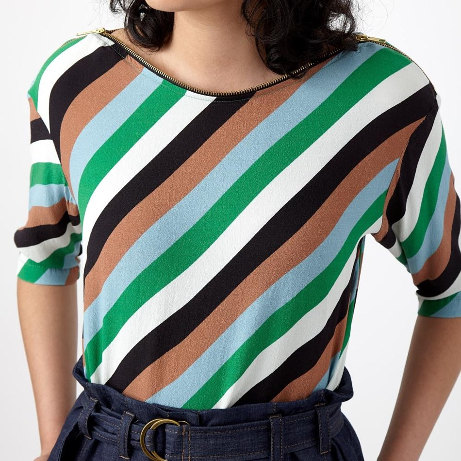 Sylvester Carnival Zip Top - green stripe