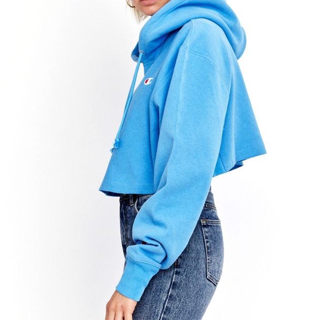 Champion Reverse Weave Cropped Cut-Off Hoodie - djj active blue